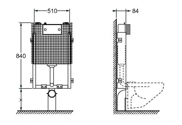 Schema montaggio water sospeso fare di una mosca for Scarico wc a parete